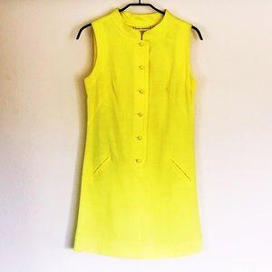 Yellow a-line vintage mod mini dress